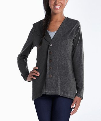 lur® Charcoal Shawl Collar Cardigan - Women