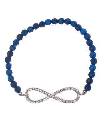 Dark Blue & Sterling Silver Infinity Loop Bead Bracelet