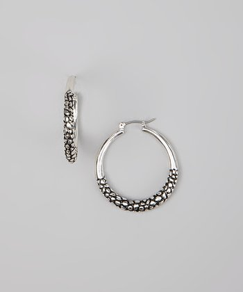 Silver & Black Pebbled Hoop Earrings