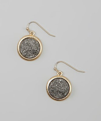 Gold & Gray Drusy Disc Drop Earrings