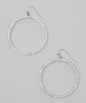 Silver Rhinestone Drop Hoop Earrings