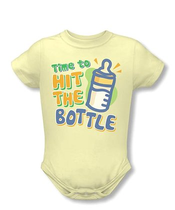 Soft Yellow 'Hit the Bottle' Bodysuit - Infant