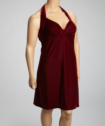 Burgundy Velvet Ruched Halter Dress - Plus