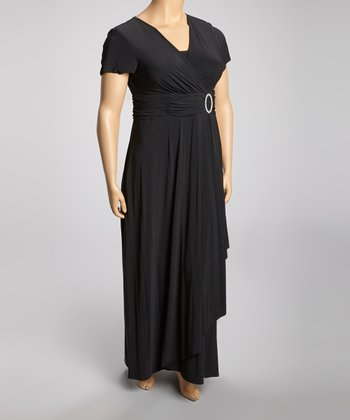 Black Ruched Surplice Maxi Dress - Plus
