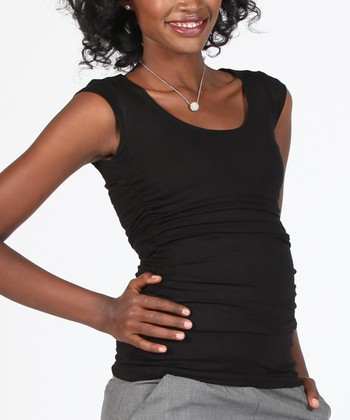 Black Maternity & Nursing Cap-Sleeve Top