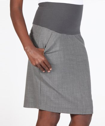 Charcoal Gray Mid-Belly Maternity Pencil Skirt