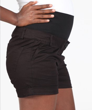 Black Mid-Belly Maternity Shorts