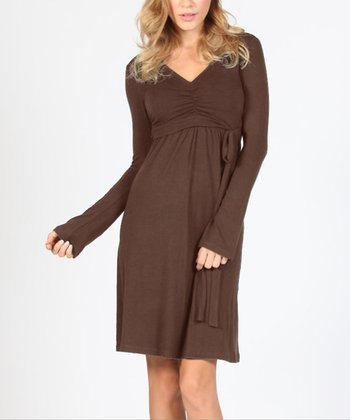 Brown To Tie For Maternity & Nursing Dress