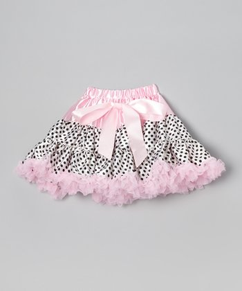 Light Pink & Black Polka Dot Pettiskirt - Infant, Toddler & Girls