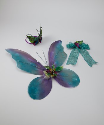 Aqua & Purple Peacock Wings Set