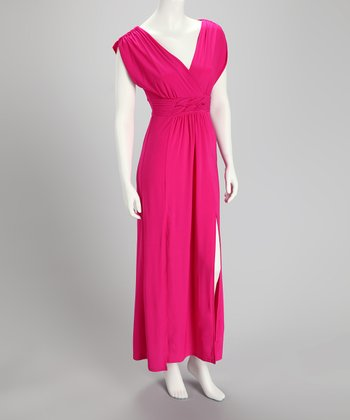 Hot Pink V-Neck Maxi Dress
