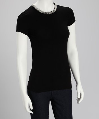Black Bead-Neck Top - Women
