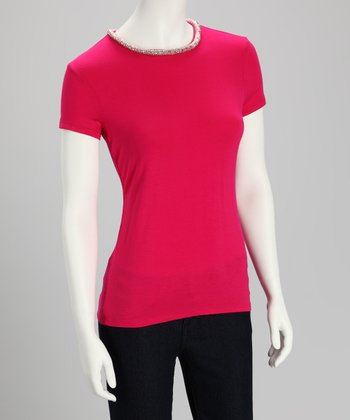 Strawberry Bead-Neck Top - Women