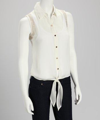 Ivory Sheer Tie-Front Button-Up - Women