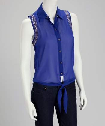 Sapphire Sheer Tie-Front Button-Up - Women