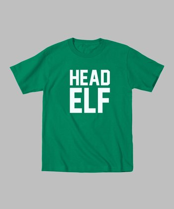 Green 'Head Elf' Tee - Toddler & Kids