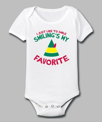 White 'Smiling's My Favorite' Bodysuit - Infant