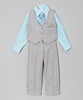 Gray & Aqua Vest Set - Toddler & Boys