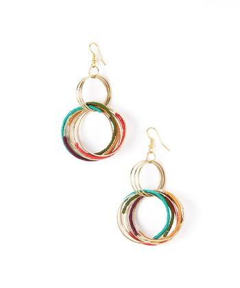 Red & Teal Concentric Hoop Drop Earrings