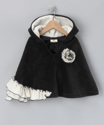 Black & Ivory Ruffle Poncho - Infant, Toddler & Girls