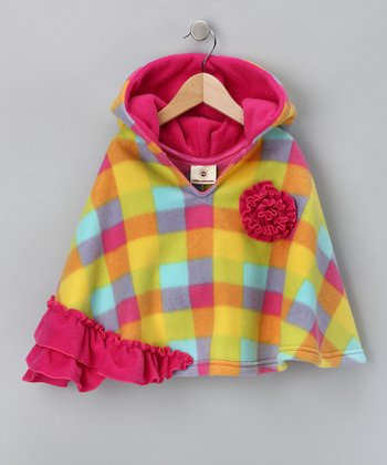 Yellow & Pink Plaid Ruffle Poncho - Girls