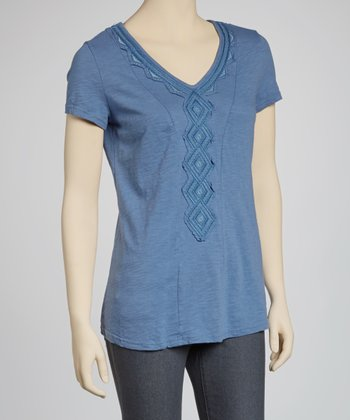 Blue Diamond V-Neck Top