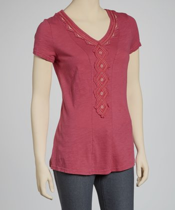 Raspberry Diamond V-Neck Top