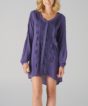 Purple Pin-Tuck Button-Up Dress