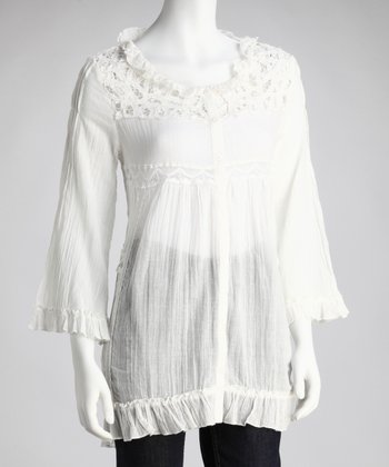 Off-White Crocheted Lace Ruffle Tunic