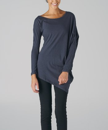 Charcoal Asymmetrical Boatneck Top