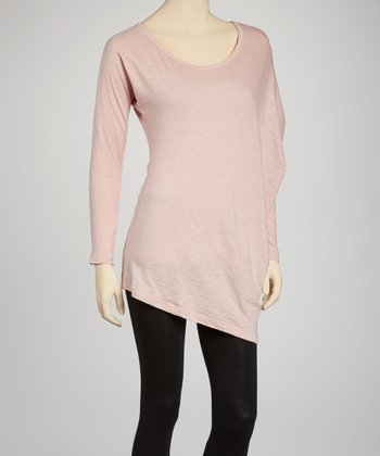 Peach Asymmetrical Boatneck Top