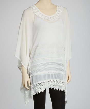 Off-White Embellished Cape-Sleeve Tunic