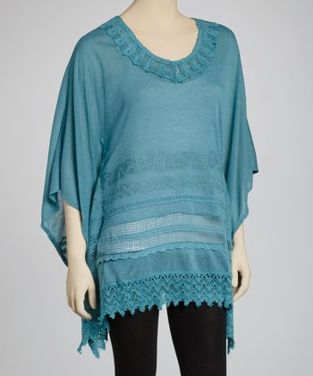 Turquoise Embellished Cape-Sleeve Tunic