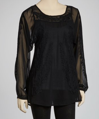 Black Embroidered Long-Sleeve Top