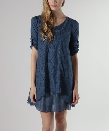 Blue Layered Three-Quarter Sleeve Dress