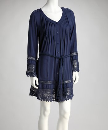 Blue Woven Shirt Dress