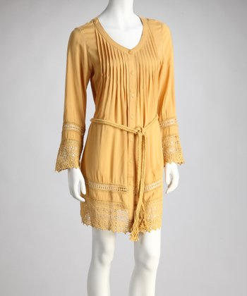 Mustard Woven Shirt Dress