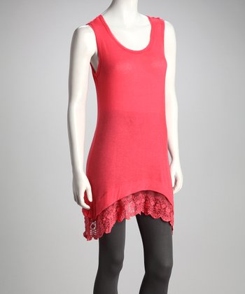 Coral Lace-Trim Sidetail Tunic