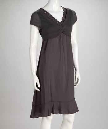Charcoal Layered Ruffle Dress