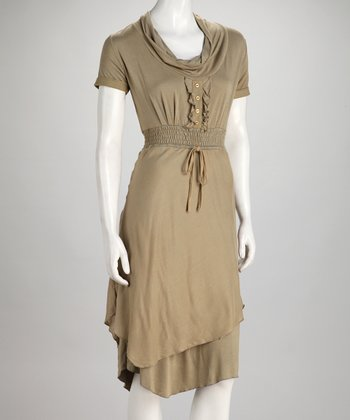 Rust Khaki Smocked Drape Neck Dress