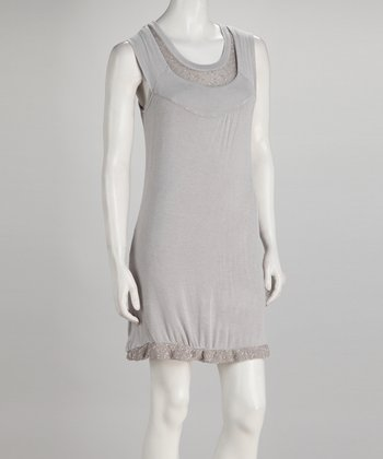 Silver Mesh Layered Tank Dress