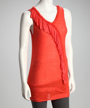Orange Ruffle Sleeveless Tunic