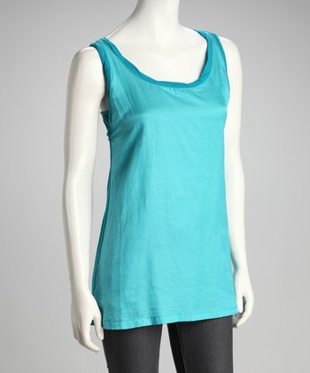Turquoise Two-Tone Silk-Blend Tank