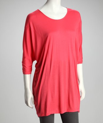 Coral Sheer-Back Dolman Tunic