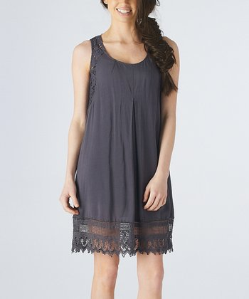 Charcoal Crochet Sleeveless Shift Dress