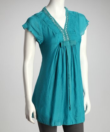 Turquoise Bow Angel-Sleeve Tunic