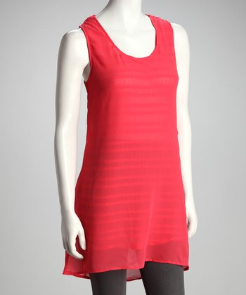 Coral Drape-Back Tunic