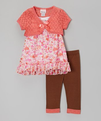 Pink Glitter Heart Tunic Set - Infant