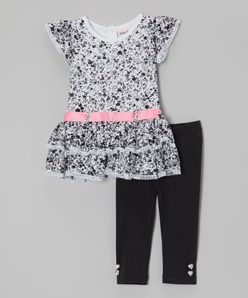 Black & White Ribbon Tunic & Leggings - Infant