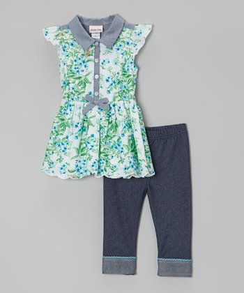 Green & Blue Floral Tunic & Jeggings - Infant